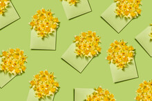 Flowers Pattern From Daffodils In Envelopes.