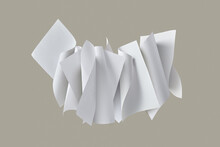 Floating Set Of Rolled Paper Sheets.