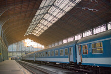 View Of Budapest Railway Station With Cars Of Train, Hungay.