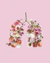 Shape Of Lungs Made From Flowers.