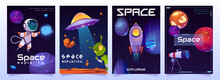 Space Exploring Cartoon Banners With Cute Alien, Ufo Saucer, Astronaut, Planets, Rocket Or Shuttle With Telescope. Fantasy Cosmic Backgrounds With Galaxy Objects, Vector Illustration, Posters Set