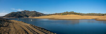 Panorama Of Fishing Boat On Lake Folsom Near New York Creek In The Afternoon