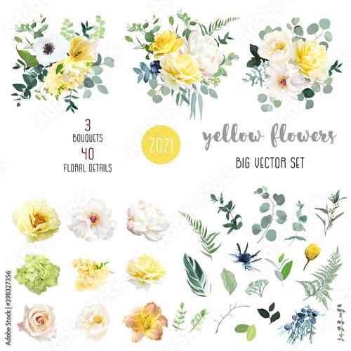 Tela Yellow rose, hydrangea, white peony, lily, anemone, spring garden flowers