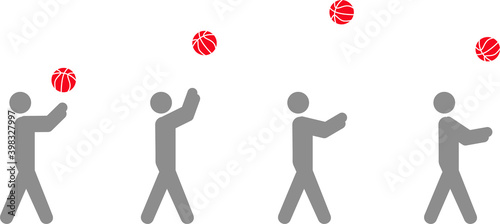 Fotografia Image sequence of a man projecting a ball in pictographic vector illustration