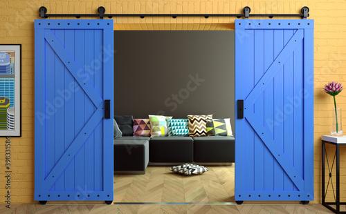 Fotografia Exclusive barn sliding loft door in room