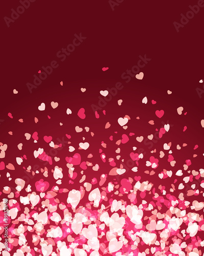 Valentines day background glowing and falling hearts confetti with place for wis Tapéta, Fotótapéta