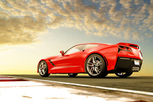 Red Generic Sport Car In The Sunset