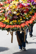 Medellin, Antioquia, Colombia. August 11, 2019: Silleteros Parade At The Flower Fair.