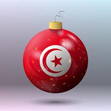 Vector - Merry Christmas Ball With Tunisia Flag
