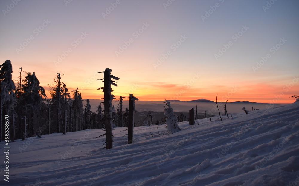 Fototapeta Mroźny dzień w górach, atak zimy, silne mrozy w Beskidach. Zima na Turbaczu w Gorcach.
