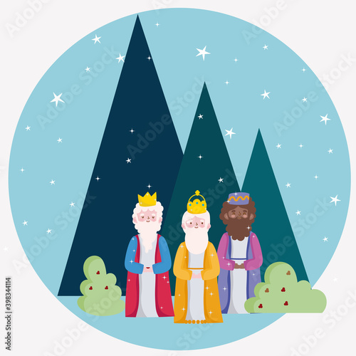 Billede på lærred happy epiphany, three wise kings night starry landscaping