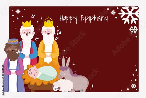 Tableau sur Toile happy epiphany, three wise men baby jesus donkey sing christmas carols