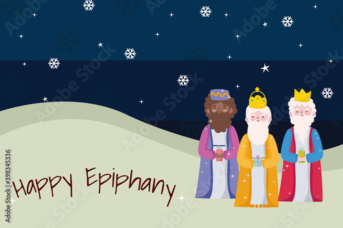 Stampa su Tela happy epiphany, three wise kings snowflakes decoration card