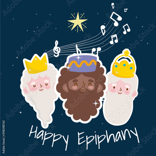 Valokuva happy epiphany, cute cartoon character of three wise men