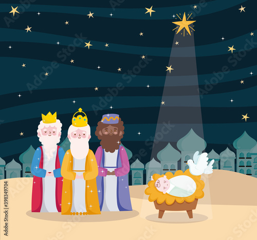 happy epiphany, three wise kings baby jesus dove and bright star in sky Fotobehang
