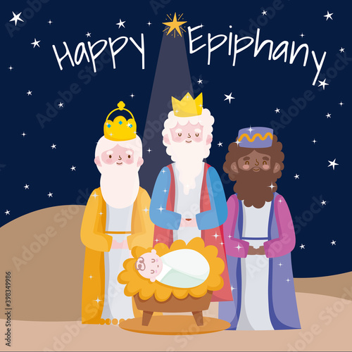 Fotografering happy epiphany, three wise kings with baby jesus desert night card