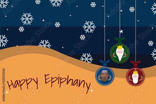 Fototapeta happy epiphany, three wise kings in hanging balls, snowflakes decoration