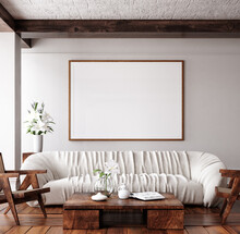 Mockup Frame In Traditional Home Interior Background, 3d Render