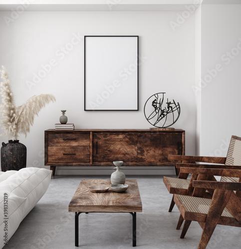 Obraz Mockup poster frame in minimalist modern interior background, 3d render - fototapety do salonu