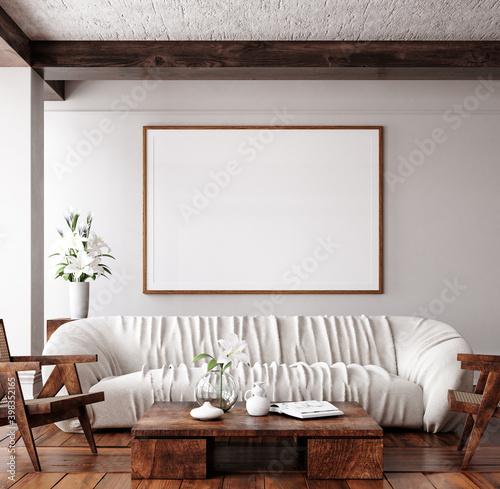 Fototapeta Mockup frame in traditional home interior background, 3d render obraz