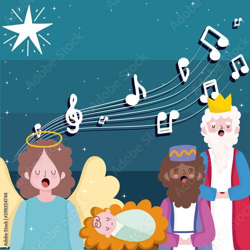 Fotografia happy epiphany, three wise kings baby jesus and angel sing christmas carols