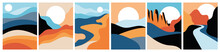 Abstract Landscape Poster Collection. Set Of Contemporary Art Print Templates. Nature Backgrounds. Sunset And Sunrize, Mountains, Rivers And Lakes, Alien Landscapes. Vector Illustrations