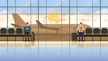 Love At First Sight Concept Of LGBT Between Males. Using Smartphone At The International Airport Terminal. Waiting For Flight At The Early Morning Sunrise. Romantic Scene With Plane Runway Background.