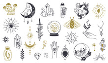 Magic Doodle Symbol. Witch Hand Drawn Magic Element, Doodle Witchcraft Crystal, Skull, Knife, Mystery Tattoo Sketch Vector Illustration Icons Set