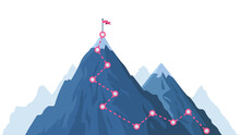 Mountain Progression Path. Climbing Progress Route, Mountain Peak Overcoming, Mountain Climbing Path With Red Flag On Top Vector Illustration