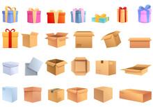 Box Icons Set, Cartoon Style