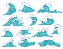 Oceanic Waves. Sea Hand Drawn Tsunami Or Storm Waves, Marine Water Shaft, Ocean Beach Surfing Waves Isolated Vector Illustration Icons Set