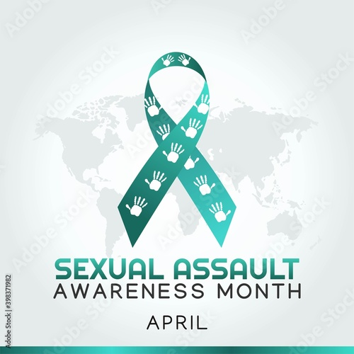 Fényképezés Sexual Assault Awareness Month Vector Illustration