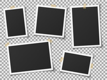 Realistic Photo Frames. Vintage Empty Photos Frame With Adhesive Tapes. Images On Wall, Retro Memory Album. Vector Template