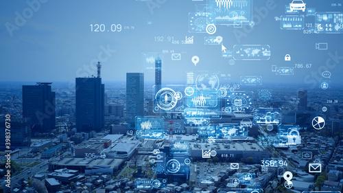 Fototapeta 都市とテクノロジー 情報化社会 obraz