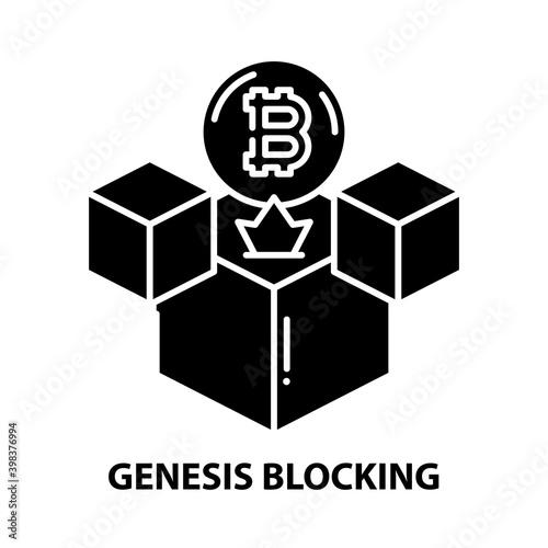 Fotografie, Tablou genesis blocking icon, black vector sign with editable strokes, concept illustra