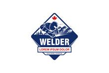 Welding Logo Welder Metal Work Icon Design, Welder Emblem, Welding Icon, Welding Identity.