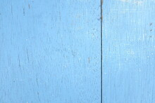 Weathered Old Wooden Background With Light Sky Blue Paint. Wood Texture Pattern.