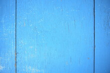 Weathered Old Wooden Background With Bright Sky Blue Paint. Wood Texture Pattern.