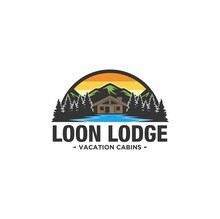 Cabin Logo Template With Mountain And Lake View In Forest