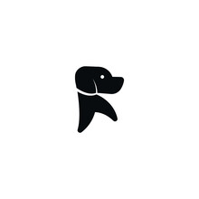 Alphabet R Letter Mark Dog Sign Icon Vector Logo Template