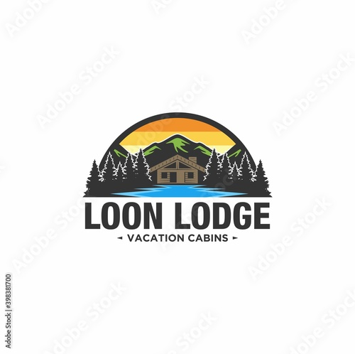 Canvas Cabin Logo template with mountain and lake view in forest