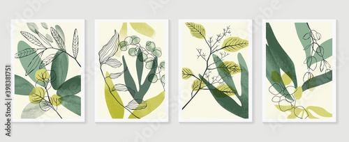 Fototapeta Botanical wall art vector set. Water color boho foliage line art drawing with  abstract shape.  Abstract Plant Art design for print, cover, wallpaper, Minimal and  natural wall art. obraz