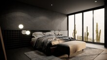 Modern Loft Bedroom Interior Design. There Have Gray Concret And Black Tile Wall. 3d Render Background