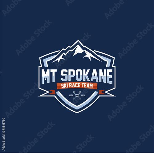 Fototapeta Winter snowboard sport logo badge. Coat and icon. Mountain ski sports badge obraz