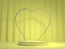 Yellow Platform With Silver Heart Decoration For Product Presentation. 3D Render