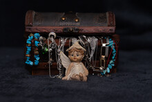 Cute Baby Angel Figurine Guarding A Jewelry Box Full Of Jewels