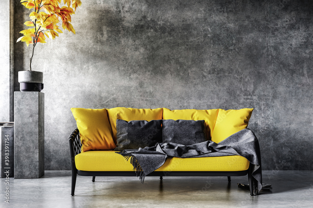 Fototapeta Home interior in colors of the year 2021, yellow sofa near concrete wall in loft interior, 3d render