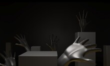 Open Hand Palm Near Podium, Base For Product Promotion. Luxury Black Dark Background. Cubic Pedestals, Solid Color Human Hands - 3d Render Illustration. Sculptural Composition For Creative Advertising