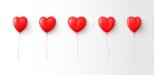 Set Of Red Balloons Isolated On Checkered Background. Vector Illustration With Realistic Heart Shaped Balloons. Holiday Symbols For Valentine's Day Decorative Design. Valentine's Day Symbols.