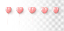 Set Of Light Pink Balloons Isolated On Checkered Background. Vector Illustration With Realistic Heart Shaped Balloons. Holiday Symbols For Valentine's Day Decorative Design. Valentine's Day Symbols.